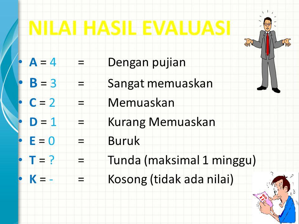 NILAI HASIL EVALUASI B = 3 = Sangat memuaskan A = 4 = Dengan pujian