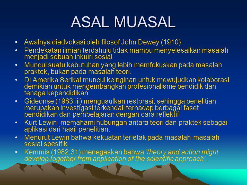 ASAL MUASAL Awalnya diadvokasi oleh filosof John Dewey (1910)