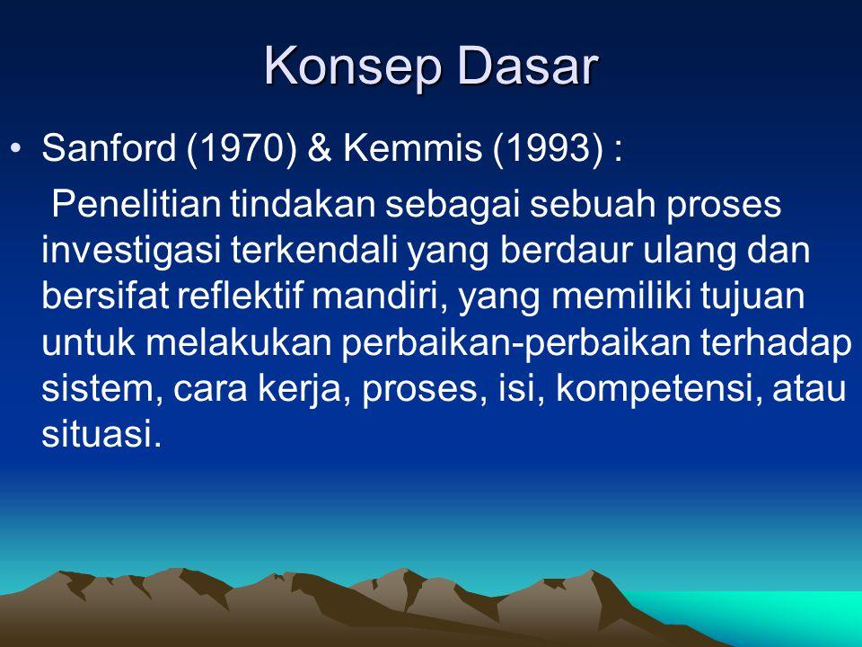 Konsep Dasar Sanford (1970) & Kemmis (1993) :
