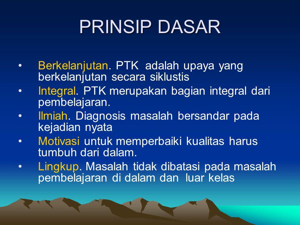 PRINSIP DASAR Berkelanjutan. PTK adalah upaya yang berkelanjutan secara siklustis. Integral. PTK merupakan bagian integral dari pembelajaran.