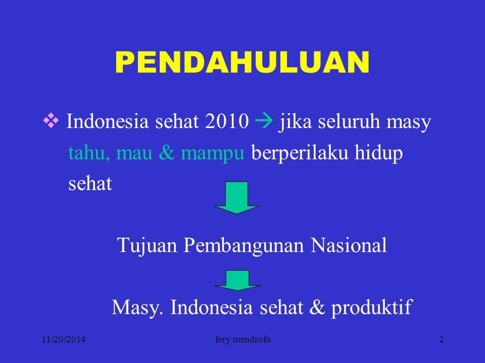 PENDAHULUAN Indonesia sehat 2010  jika seluruh masy