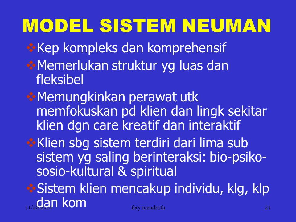 MODEL SISTEM NEUMAN Kep kompleks dan komprehensif