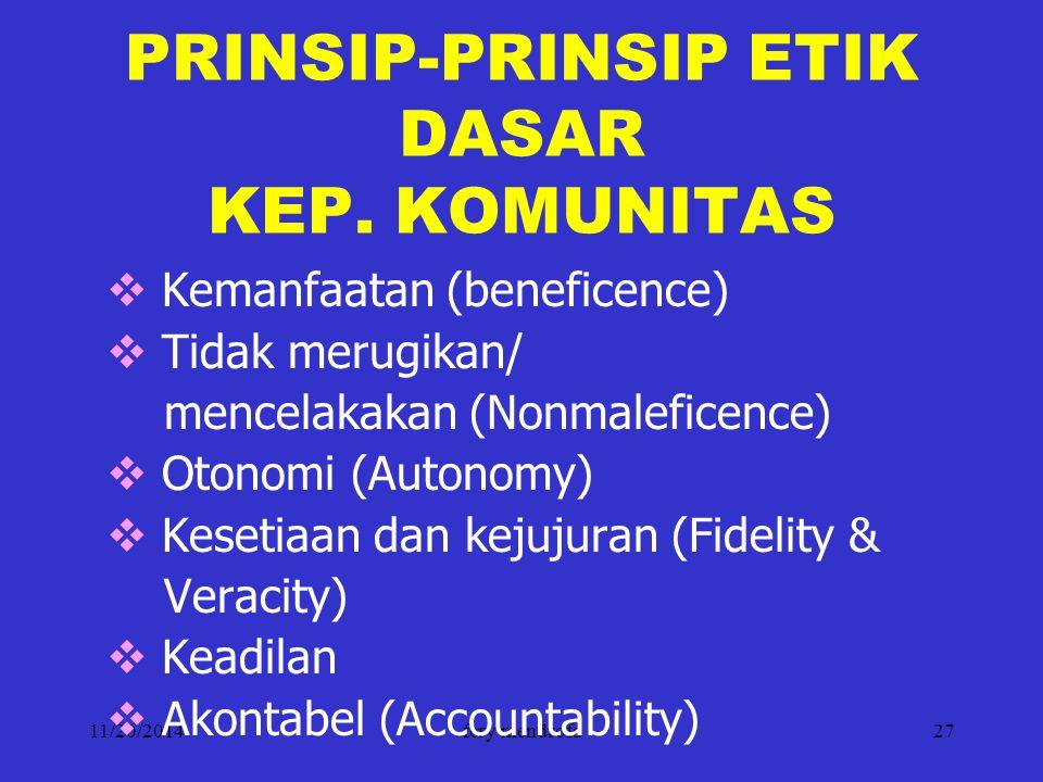 PRINSIP-PRINSIP ETIK DASAR KEP. KOMUNITAS