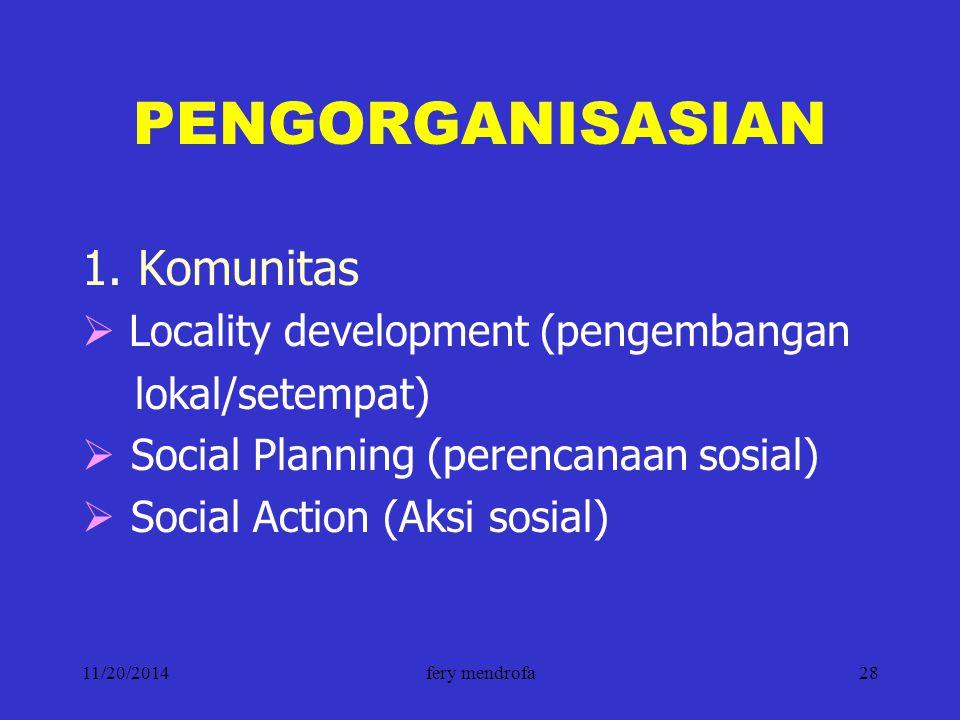 PENGORGANISASIAN 1. Komunitas Locality development (pengembangan