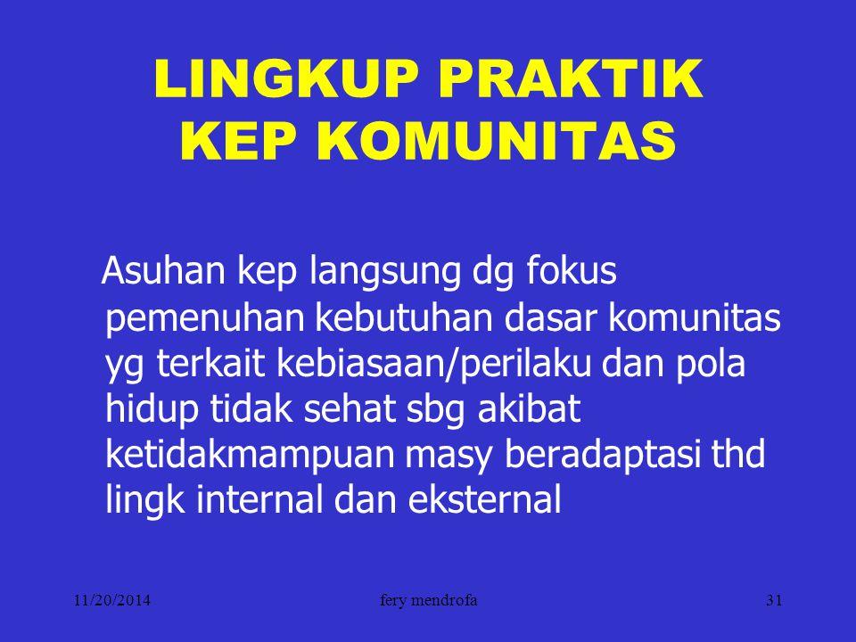 LINGKUP PRAKTIK KEP KOMUNITAS