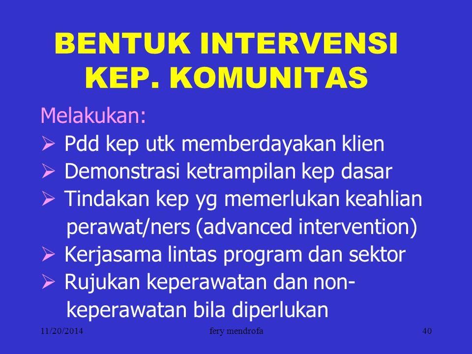 BENTUK INTERVENSI KEP. KOMUNITAS