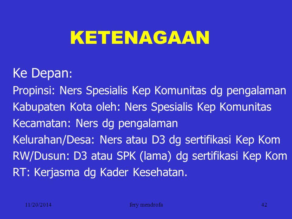 KETENAGAAN Ke Depan: Propinsi: Ners Spesialis Kep Komunitas dg pengalaman. Kabupaten Kota oleh: Ners Spesialis Kep Komunitas.