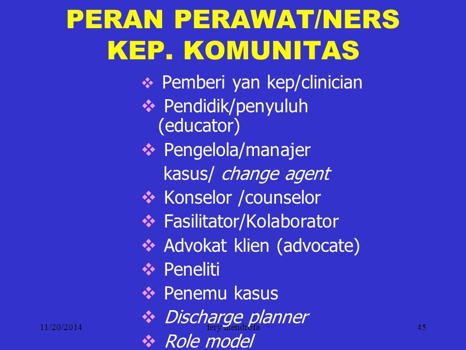 PERAN PERAWAT/NERS KEP. KOMUNITAS