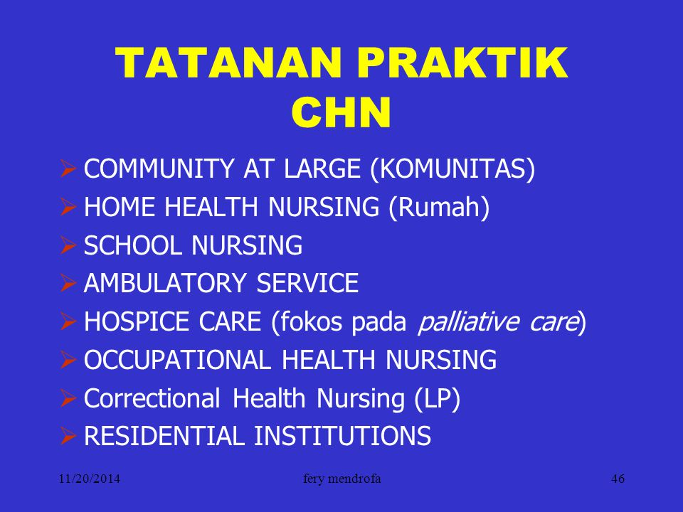 TATANAN PRAKTIK CHN COMMUNITY AT LARGE (KOMUNITAS)
