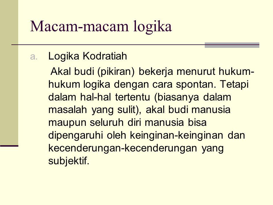 Macam-macam logika Logika Kodratiah