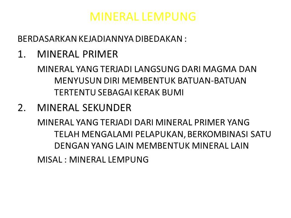 MINERAL LEMPUNG MINERAL PRIMER MINERAL SEKUNDER
