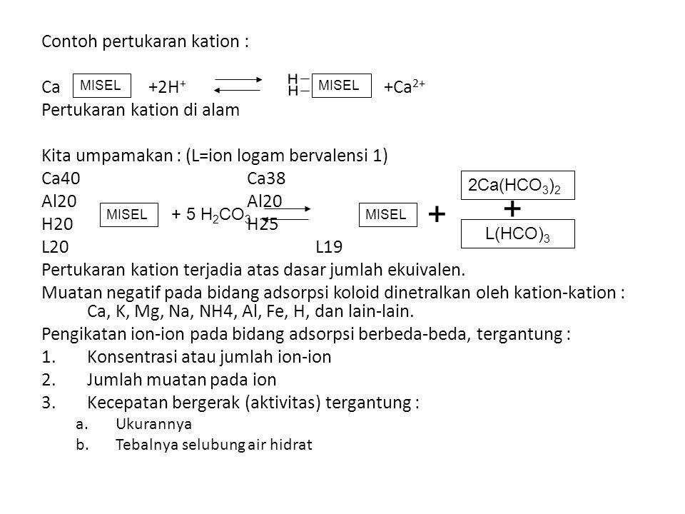+ Contoh pertukaran kation : Ca +2H+ +Ca2+ Pertukaran kation di alam