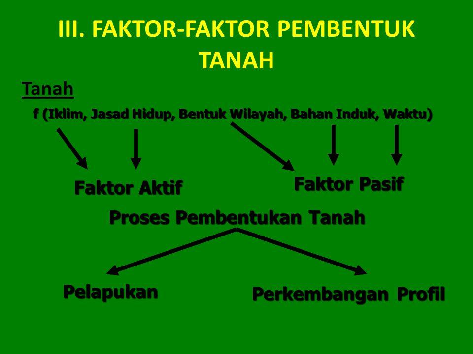III. FAKTOR-FAKTOR PEMBENTUK TANAH