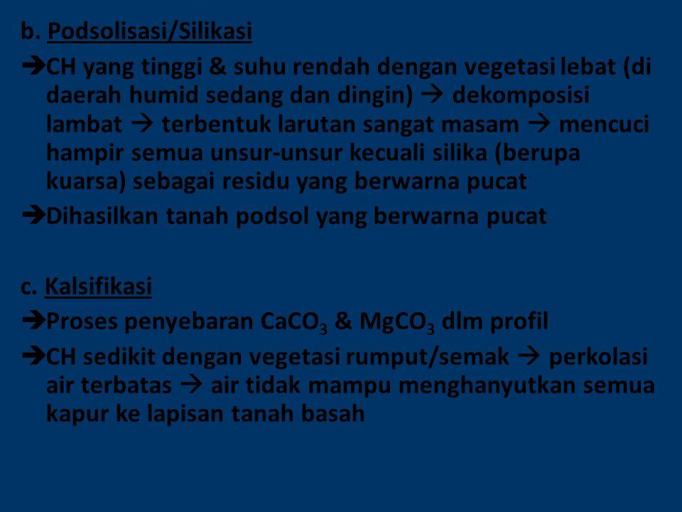 b. Podsolisasi/Silikasi