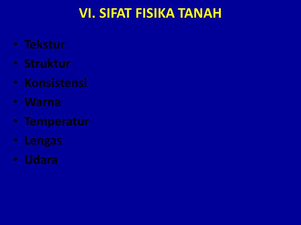 VI. SIFAT FISIKA TANAH Tekstur Struktur Konsistensi Warna Temperatur