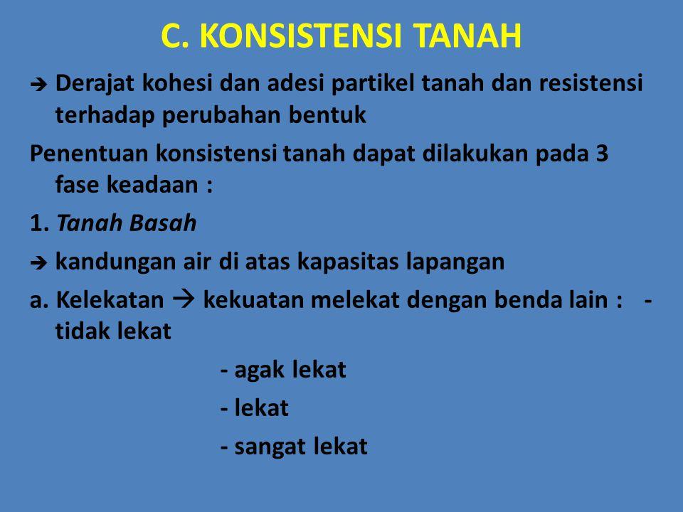 C. KONSISTENSI TANAH Derajat kohesi dan adesi partikel tanah dan resistensi terhadap perubahan bentuk.