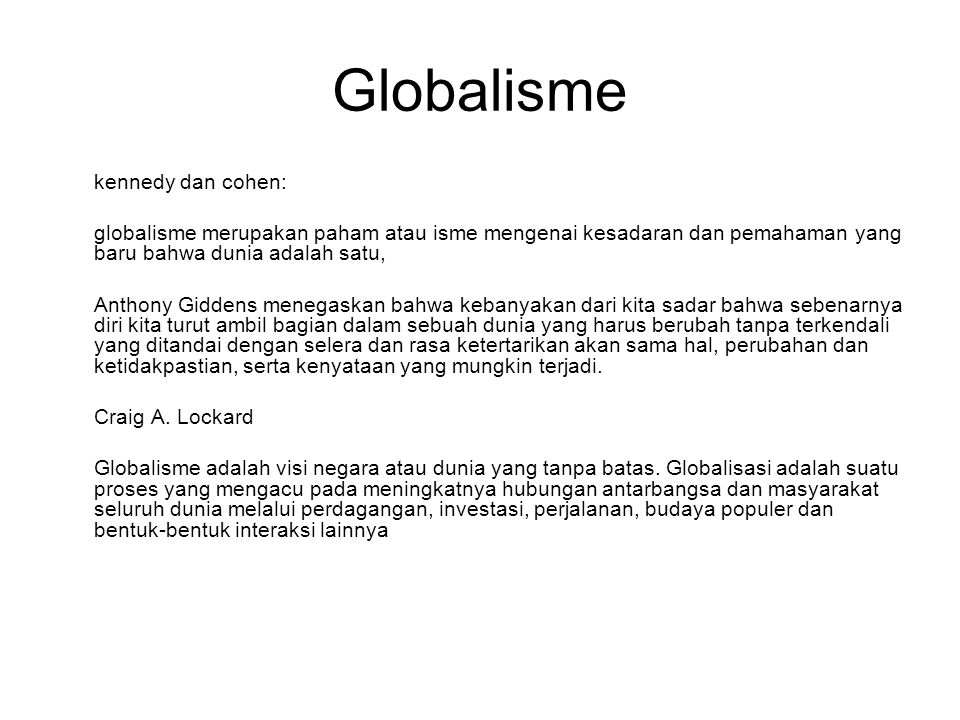 Globalisme kennedy dan cohen: