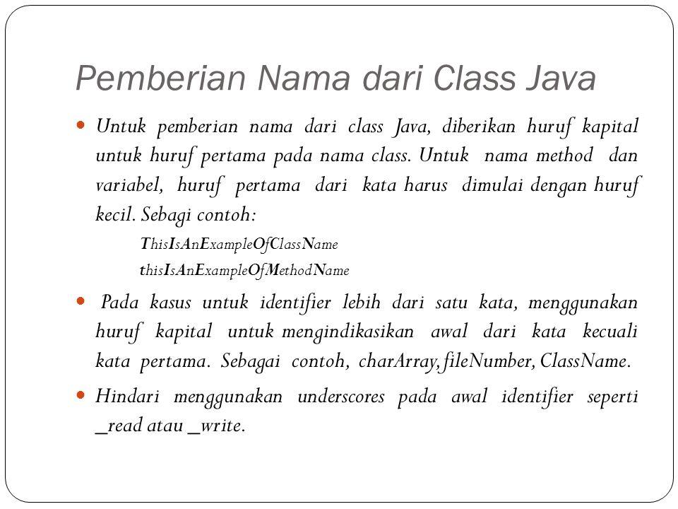 Pemberian Nama dari Class Java