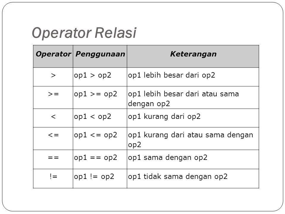 Operator Relasi Operator Penggunaan Keterangan > op1 > op2