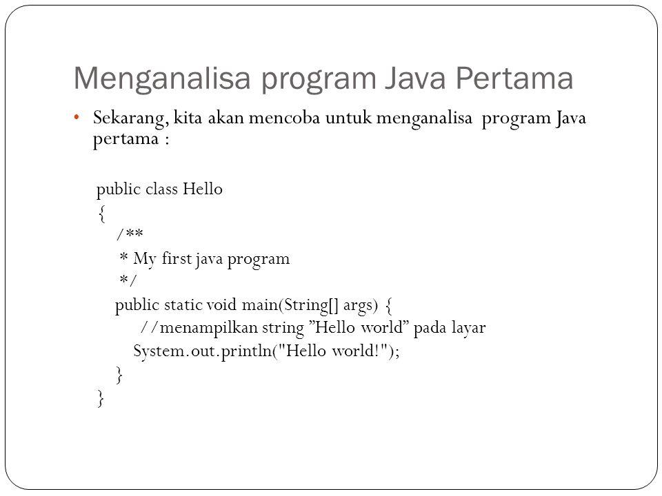 Menganalisa program Java Pertama