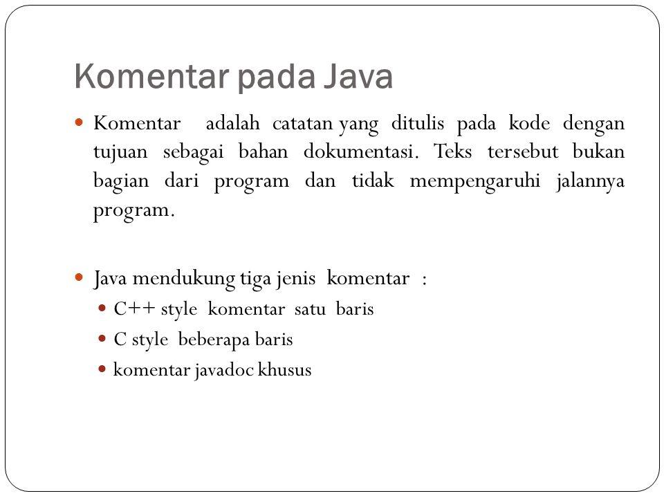 Komentar pada Java