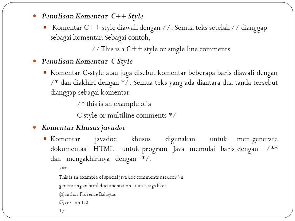 Penulisan Komentar C++ Style