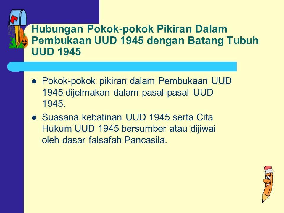 Hubungan Pokok-pokok Pikiran Dalam Pembukaan UUD 1945 dengan Batang Tubuh UUD 1945
