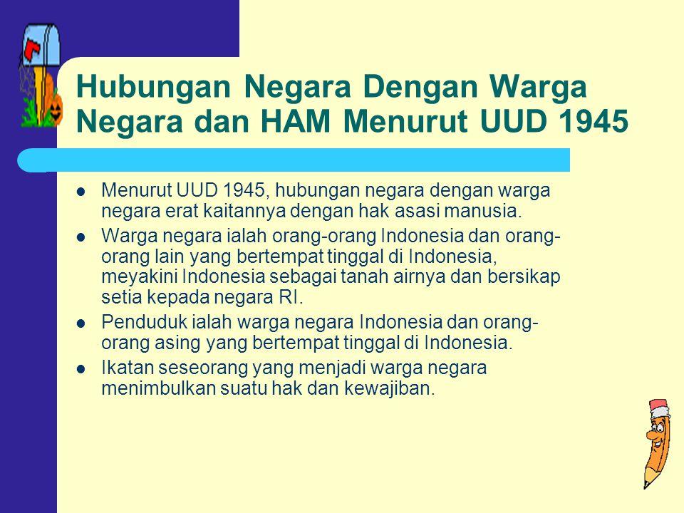 Hubungan Negara Dengan Warga Negara dan HAM Menurut UUD 1945