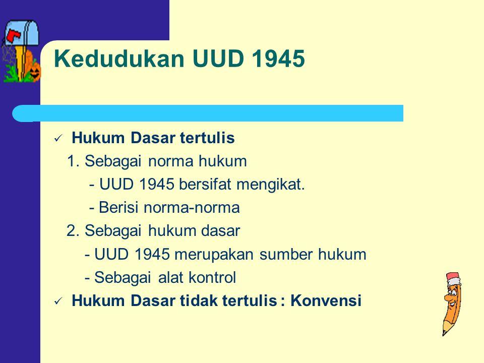 Kedudukan UUD 1945 Hukum Dasar tertulis 1. Sebagai norma hukum
