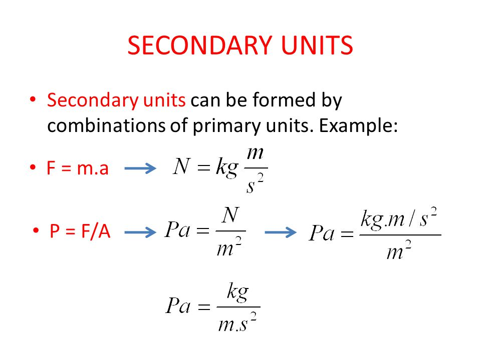 SECONDARY UNITS Secondary units can be formed by combinations of primary units.
