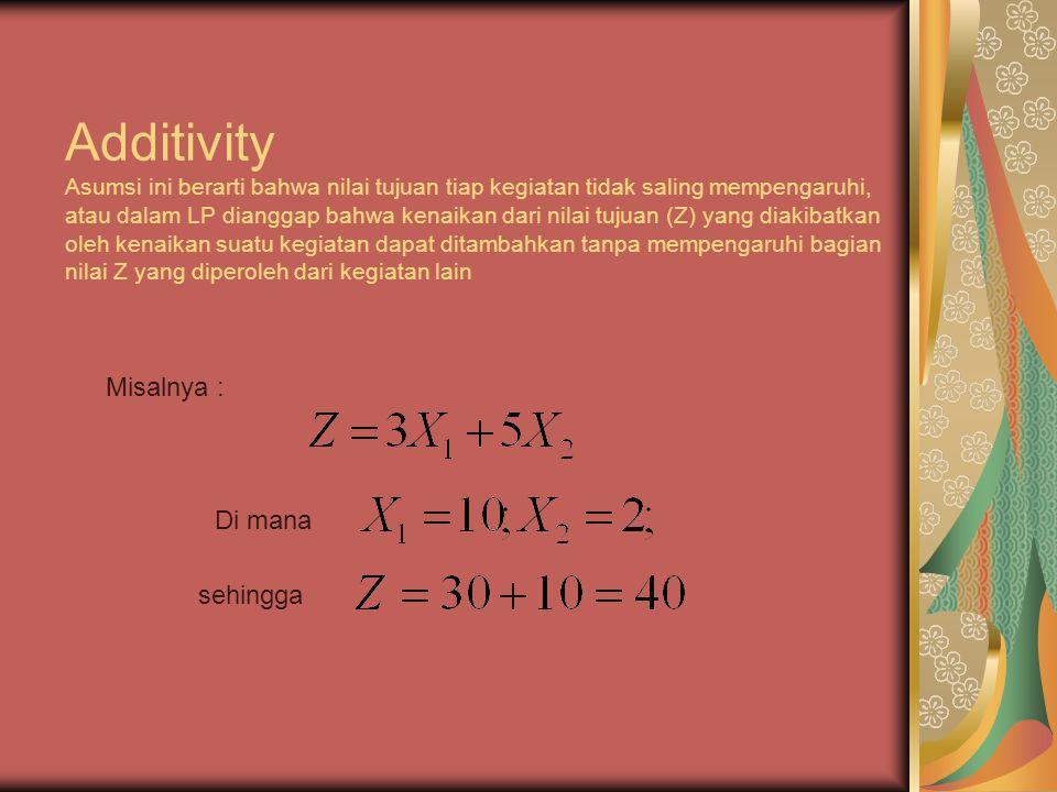 Additivity Asumsi ini berarti bahwa nilai tujuan tiap kegiatan tidak saling mempengaruhi, atau dalam LP dianggap bahwa kenaikan dari nilai tujuan (Z) yang diakibatkan oleh kenaikan suatu kegiatan dapat ditambahkan tanpa mempengaruhi bagian nilai Z yang diperoleh dari kegiatan lain