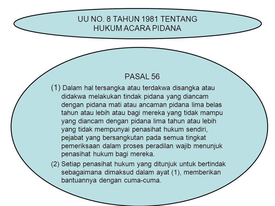 UU NO. 8 TAHUN 1981 TENTANG HUKUM ACARA PIDANA