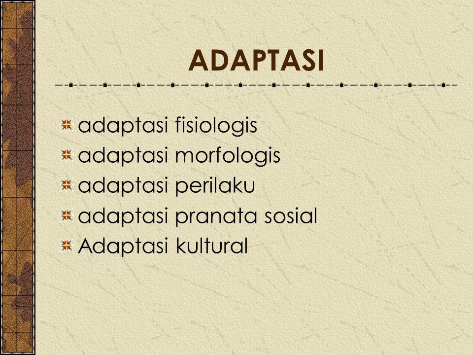 ADAPTASI adaptasi fisiologis adaptasi morfologis adaptasi perilaku
