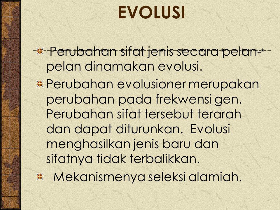 EVOLUSI Perubahan sifat jenis secara pelan-pelan dinamakan evolusi.