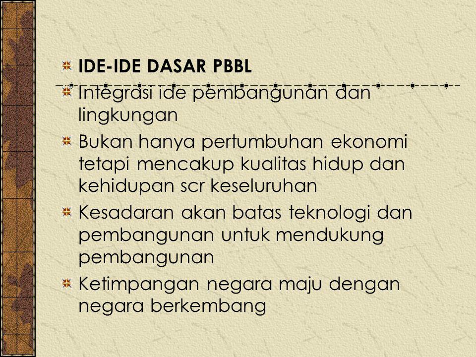 IDE-IDE DASAR PBBL Integrasi ide pembangunan dan lingkungan.