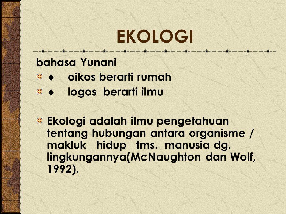 EKOLOGI bahasa Yunani  oikos berarti rumah  logos berarti ilmu