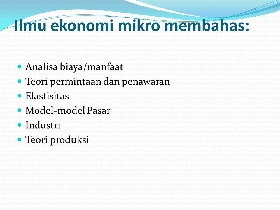 Ilmu ekonomi mikro membahas: