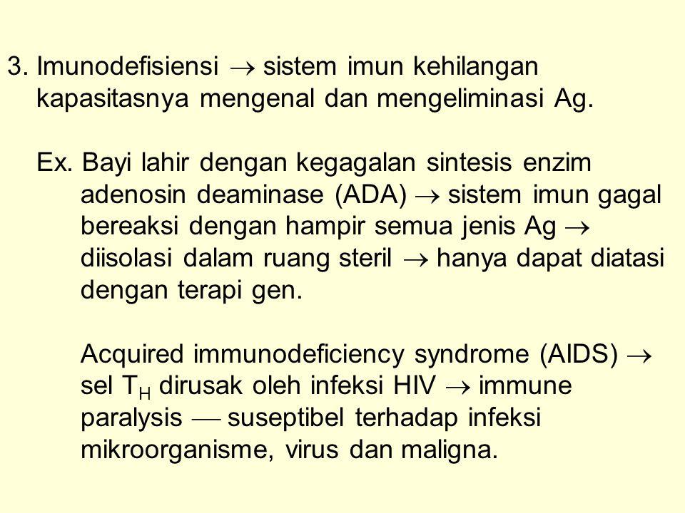 3. Imunodefisiensi  sistem imun kehilangan kapasitasnya mengenal dan mengeliminasi Ag.