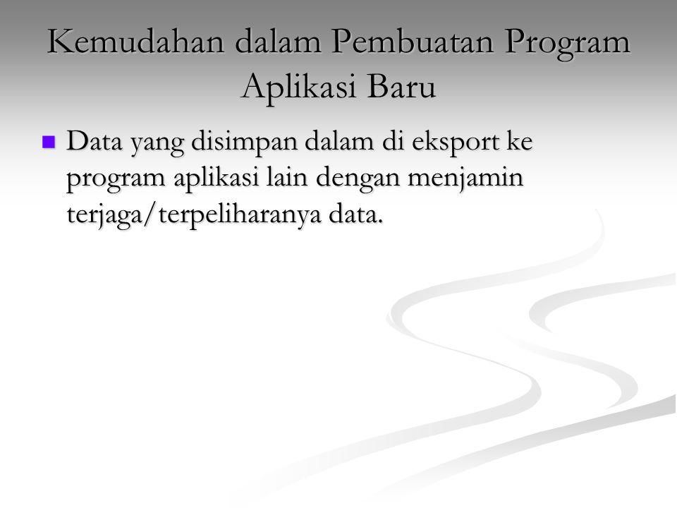 Kemudahan dalam Pembuatan Program Aplikasi Baru