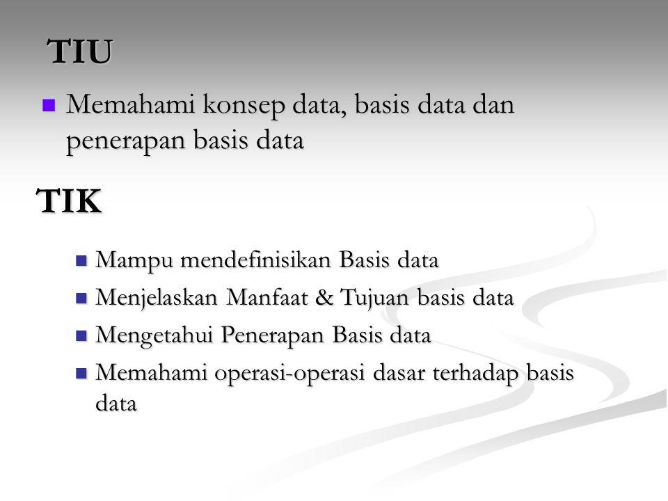 TIU TIK Memahami konsep data, basis data dan penerapan basis data