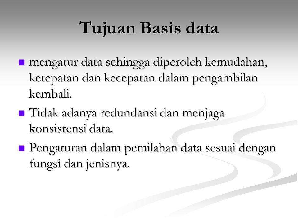 Tujuan Basis data mengatur data sehingga diperoleh kemudahan, ketepatan dan kecepatan dalam pengambilan kembali.
