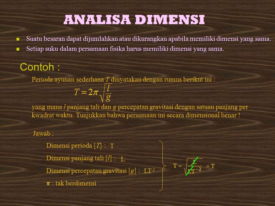 ANALISA DIMENSI Contoh :
