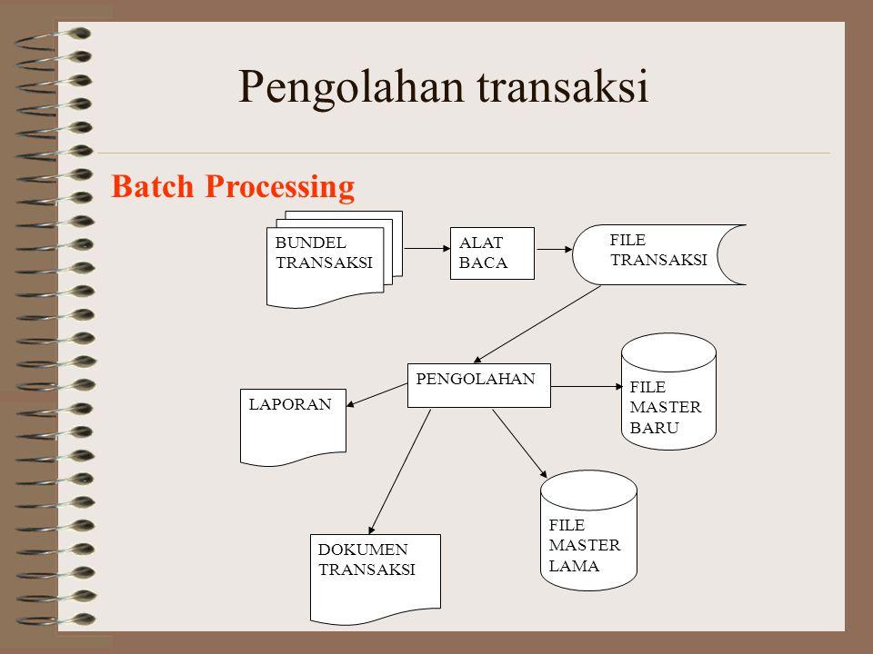 Pengolahan transaksi Batch Processing BUNDEL TRANSAKSI ALAT BACA