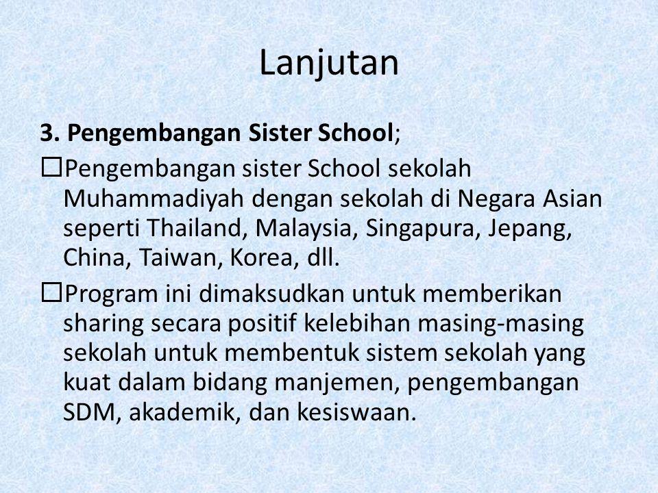 Lanjutan 3. Pengembangan Sister School;