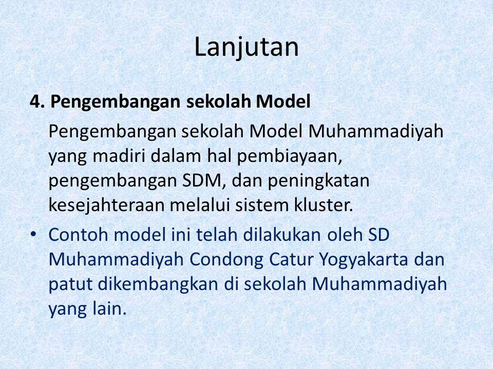 Lanjutan 4. Pengembangan sekolah Model