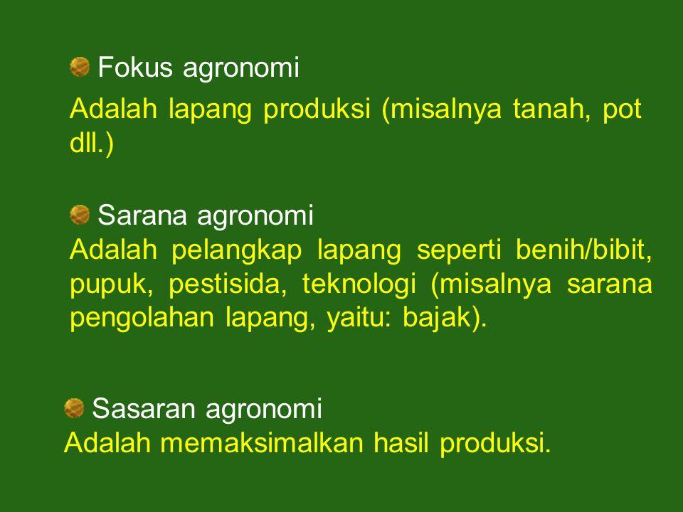 Fokus agronomi Adalah lapang produksi (misalnya tanah, pot dll.) Sarana agronomi.