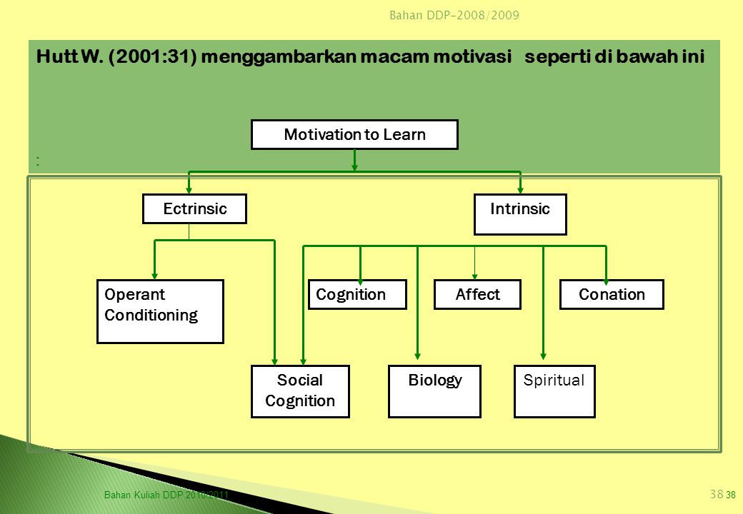 Hutt W. (2001:31) menggambarkan macam motivasi seperti di bawah ini