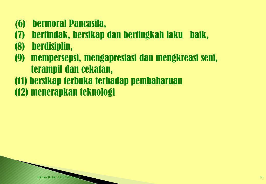 (7) bertindak, bersikap dan bertingkah laku baik, (8) berdisiplin,