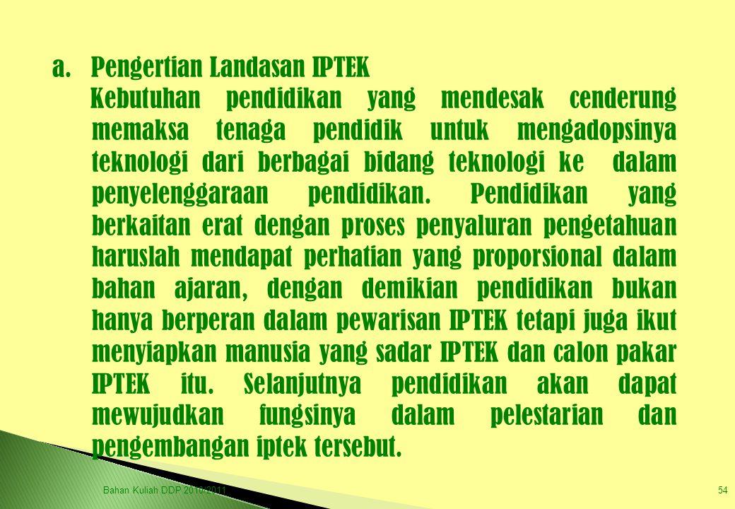 a. Pengertian Landasan IPTEK