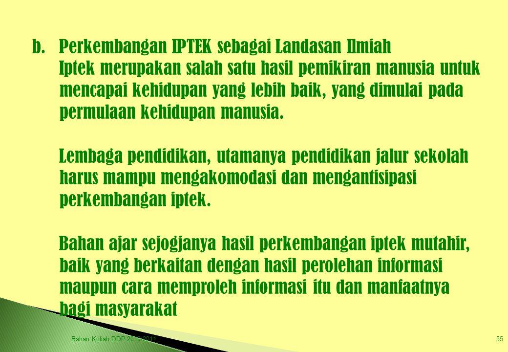 b. Perkembangan IPTEK sebagai Landasan Ilmiah